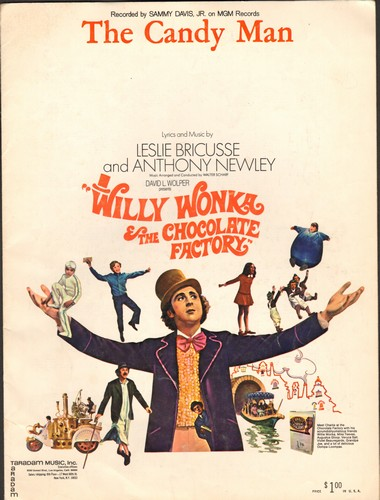 Davis, Sammy Jr. - The Candy Man - SHEET MUSIC for the popular song featured in film -Willy Wonka & The Chocolate Factory- (BEAUTIFUL Movie Poster cover art, suitable for framing!) - EX8/ - Sheet Music