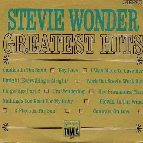 Wonder, Stevie - Greatest Hits: Contract On Love, Blowin' In The Wind, Uptight, Fingertips Part 2, Hey Harmonica Man, I Was Made To Love Her, A Place In The Sun (vinyl STEREO LP record) - EX8/VG7 - LP Records