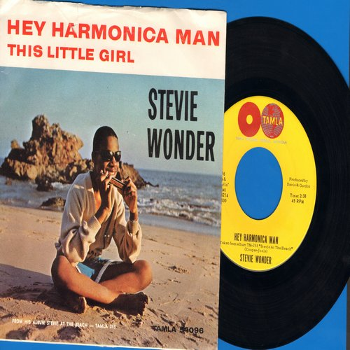 Wonder, Stevie - Hey Harmonica Man/This Little Girl (with RARE picture sleeve) - EX8/VG7 - 45 rpm Records
