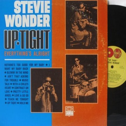 Wonder, Stevie - Up-Tight (Everything's Alright): Blowing In The Wind, I Want My Baby Back, Pretty Little Angel, Contract On Love, Love A Go Go (vinyl STEREO LP record, 1966 first issue) - EX8/VG7 - LP Records