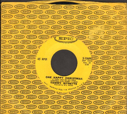Wynette, Tammy - One Happy Christmas/(Merry Christmas) We Must Be Having Fun (with vintage Epic company sleeve) - EX8/ - 45 rpm Records