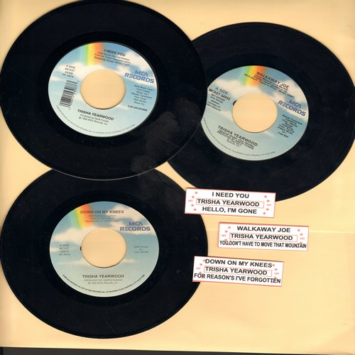 Yearwood, Trisha - Trisha Yearwood 3-Pack of Original 45s with juke box labels! Hits include Down On My Knees, Walkaway Joe and I Need You. GREAT for a juke box! - NM9/ - 45 rpm Records