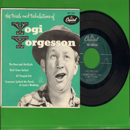 Yorgenson, Yogi - The Trails & Tribulations: The Bees And The Birds/Real Gone Galoot/All Pooped Out/Someone Spiked The Punch At Lena's Wedding (vinyl EP record with picture cover) - NM9/NM9 - 45 rpm Records