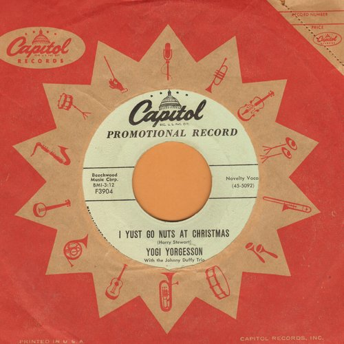 Yorgesson, Yogi - I Yust Go Nuts At Christmas/Yingle Bells (DJ advance pressing with vintage Capitol company sleeve) - NM9/ - 45 rpm Records