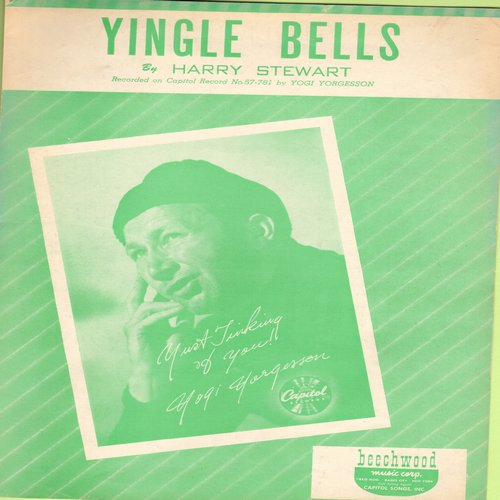 Yorgesson, Yogi - Yingle Bells - Vintage SHEET Music for the Novelty record made popular by Yogi Yorgesson - EX8/ - Sheet Music