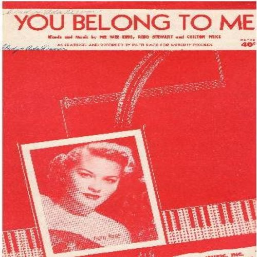 Page, Patti - You Belong To Me - Vintage SHEET MUSIC featuring Patty Page on cover (this is SHEET MUSIC, not any other kind of media!) (minor woc) - EX8/ - Sheet Music