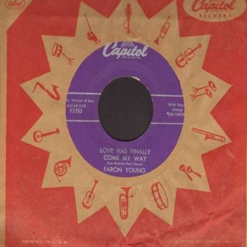 Young, Faron - Love Has Finally Come My Way (ULTRA-DREAMY Vintage Love Ballad!)/Moonlight Mountain (with vintage Capitol company sleeve) - EX8/ - 45 rpm Records