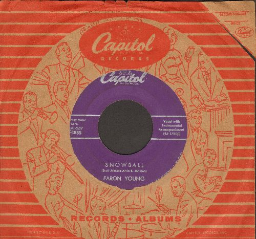 Young, Faron - Snowball (On A Hot Stove)/The Locket (with vintage Capitol company sleeve) - VG7/ - 45 rpm Records