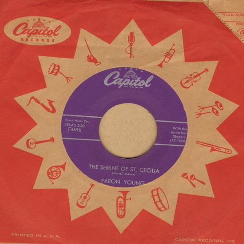 Young, Faron - The Shrine Of St. Cecilia/He Was There (with Capitol company sleeve) - VG7/ - 45 rpm Records