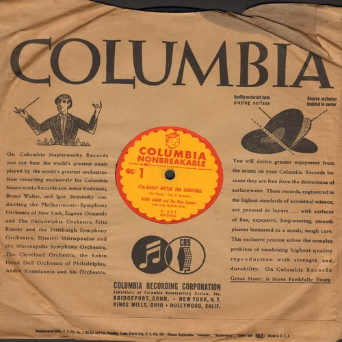 Zahnd, Ricky & The Blue Jeaners - (I'm Getting') Nuttin' For Christmas/Something Barked On Christmas Morning (10 inch 78 rpm record with Columbia company sleeve) - VG7/ - 78 rpm