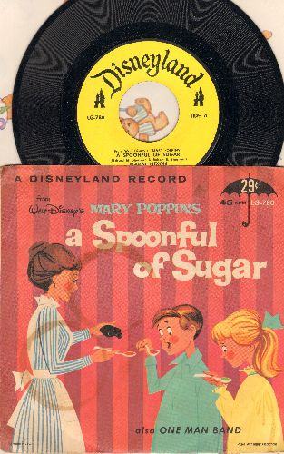 Nixon, Marnie - A Spoonful Of Sugar/One Man Band (both titles from Walt Disney's Mary Poppins) (with picture sleeve) - NM9/VG7 - 45 rpm Records