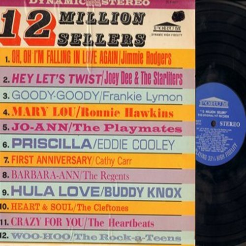 Dee, Joey & The Starliters, Playmates, Frankie Lymon, Cleftones, others - 12 Million Sellers: Hey Let's Twist, Goody-Goody, Barbara-Ann, Heart & Soul, Woo-Hoo (Vinyl STEREO LP record) - NM9/EX8 - LP Records