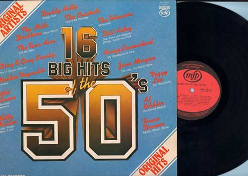 Weavers, Jane Morgan, Buddy Holly, Al Hibbler, others - 16 Big Hits of the 50s: Peggy Sue, See You Later Alligator, Little Thngs Mean A Lot, Tammy, Music Music Music (Vinyl MONO LP record, British Pressing) - NM9/EX8 - LP Records