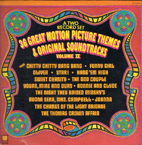 Holmes, Leroy, Ferrante & Teicher, Ennio Morricone, others - 36 Great Motion Pictures Themes & Original Soundtracks Vol. II: The Odd Couple, Chitty Chitty Bang Bang, Bonnie & Clyde, Alfie, For Love Of Ivy (2 vinyl STEREO LP records, gate-ford cover, lower