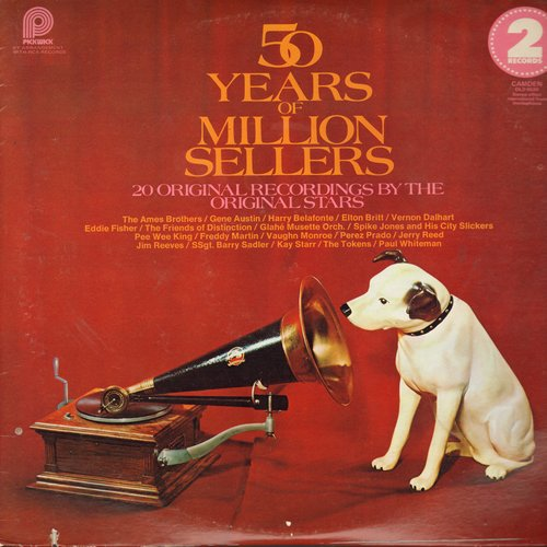 Whitman, Paul & His Orchestra, Gene Austin, Spike Jones, Ames Brothers, others - 50 Years Of Million Sellers: Ramona, Beer Barrel Polka, The Lion Sleeps Tonight, Cocktails For Two (2 vinyl LP record set, 1974 issue of vintage recordings) - EX8/EX8 - LP Re