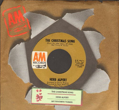 Alpert, Herb & The Tijuana Brass - My Favorite Things/The Christmas Song (with A&M company sleeve and juke box label) - EX8/ - 45 rpm Records