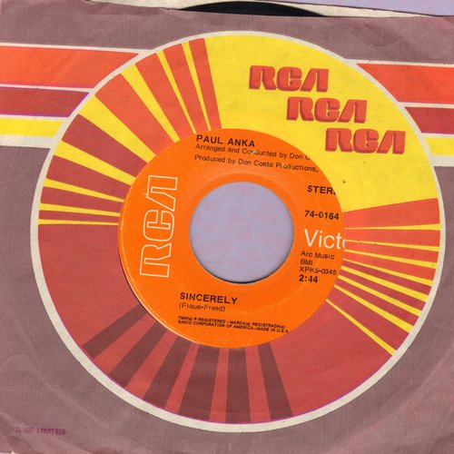 Anka, Paul - Sincerely/Next Year (with RCA company sleeve) - NM9/ - 45 rpm Records