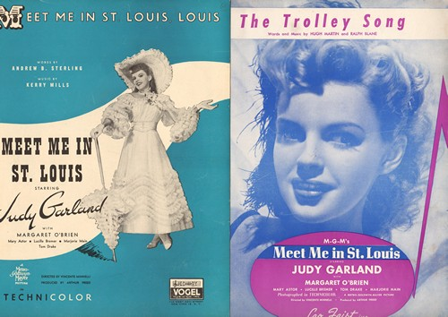 Garland, Judy - Set of 2 Vintage Judy Garland SHEET MUSIC of songs featured in -Meet Me In St. Louis-  includes title song and -The Trolley Song- -. NICE Gift for a fan of the Star! - EX8/ - Sheet Music