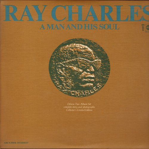 Charles, Ray - Ray Charles - A Man And His Soul: I Can't Stop Loving You, Busted, Ol' Man River, Crying Time, Hit The Road Jack (2 vinyl STEREO LP record set, gate-fold cover with picture pages!) - NM9/EX8 - LP Records