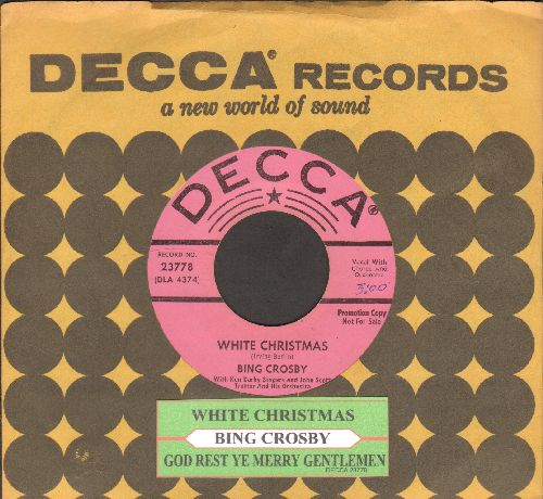 Crosby, Bing - White Christmas/God Rest Ye Merry Gentlemen (pink 1950s Star-label DJ advance pressing with juke box label and Decca company sleeve) - EX8/ - 45 rpm Records