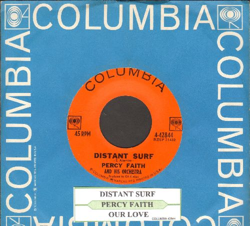 Faith, Percy & His Orchestra - Distant Surf/Our Love (with juke box label and Columbia company sleeve) - NM9/ - 45 rpm Records