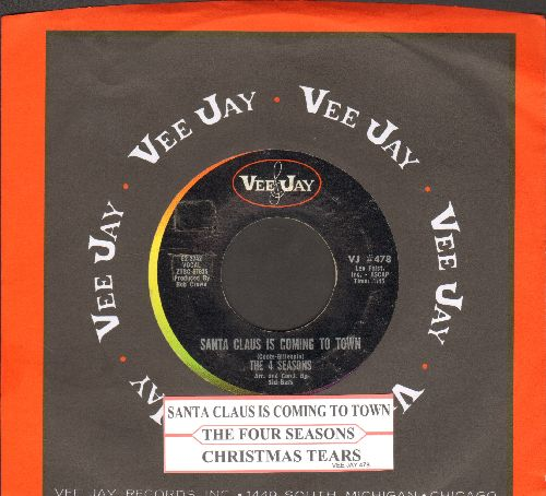 Four Seasons - Santa Claus Is Coming To Town/Christmas Tears (with juke box label and Vee-Jay company sleeve) - EX8/ - 45 rpm Records
