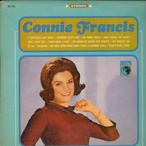 Francis, Connie - Connie Francis: Someone Else's Boy, Don't Break The Heart That Loves You, Vacation, I'm Gonna Be Warm This Winter (Vinyl STEREO LP record) - EX8/EX8 - LP Records