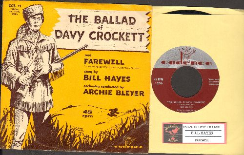 Hayes, Bill - The Ballad Of Davy Crockett/Farewell (with picture sleeve and juke box label) - EX8/EX8 - 45 rpm Records
