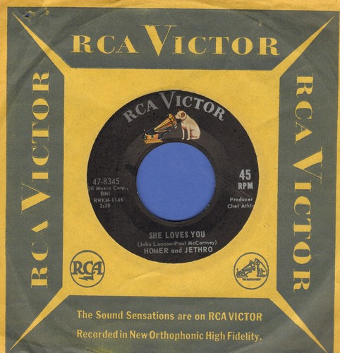 Homer & Jethro - She Loves You (Yeah! Yeah! Yeah!)/I Want To Hold Your Hand (RARE Novelty Answer 2-sider with vintage RCA company sleeve) - VG7/ - 45 rpm Records
