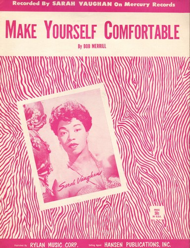 Vaughan, Sarah - Make Yourself Comfortable - Vintage SHEET MUSIC for the song made popular by Sarah Vaughan (NICE cover art!) - EX8/ - Sheet Music