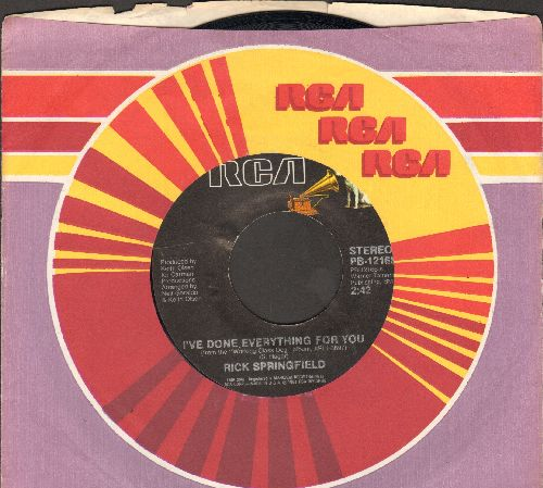 Springfield, Rick - I've Done Everything For You/Red Hot And Blue Love (with RCA company sleeve) - EX8/ - 45 rpm Records
