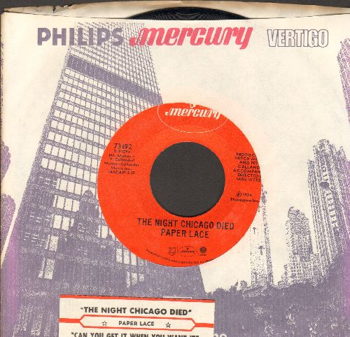 Paper Lace - The Night Chicago Died/Can You Get It When You Want It (with company sleeve and juke box label) - NM9/ - 45 rpm Records