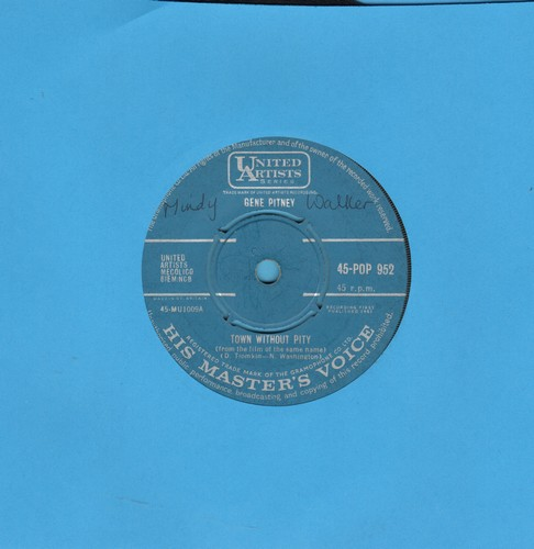 Pitney, Gene - Town Without Pity/Air Mail Special Delivery (British Pressing with removable spindle adaptor) - VG7/ - 45 rpm Records