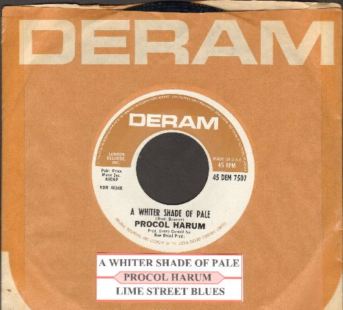 Procol Harum - A Whiter Shade Of Pale/Lime Street Blues (with juke box label and RARE Deram company sleeve) - NM9/ - 45 rpm Records