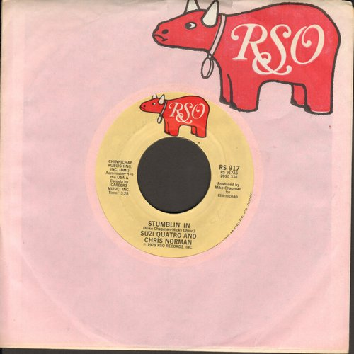 Quatro, Suzi & Chris Norman - Stumblin' In (BEAUTIFUL TOP CHARTING LOVE BALLAD!)/A Stranger In Paradise (with RSO company sleeve) - VG7/ - 45 rpm Records