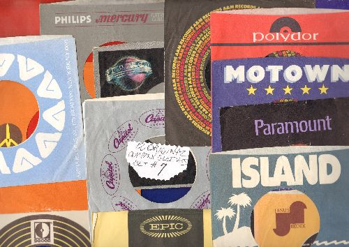 Company Sleeves - 12 Vintage Company Sleeves - Set #012-7 (exactly as pictured!) - Dress up your 7 inch vinyl records in these re-issue company sleeves of the 1960s through 80s. Good to excellent condition. - EX8/EX8 - Supplies