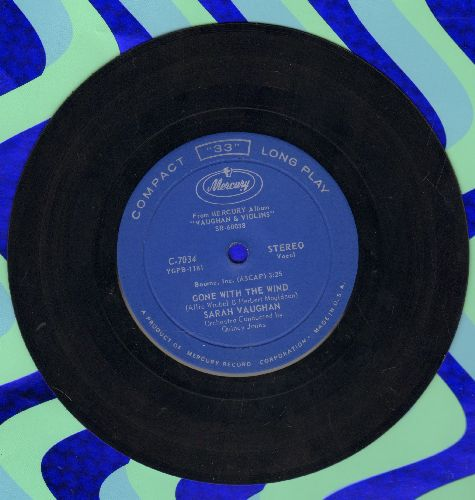 Vaughan, Sarah - Gone With The Wind/Live For Love (RARE 7 inch 33rpm single, small spindle hole) - EX8/ - 45 rpm Records