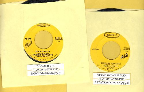 Wynette, Tammy - 2 for 1 Special: Stand By Your Man/D-I-V-O-R-C-E  (2 vintage first issue 45rpm records for the price of 1! - Shipped in plain paper sleeves with juke box labels!) - VG7/ - 45 rpm Records