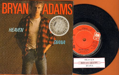Adams, Bryan - Heaven/Diana (British pressing, small spindle hole with juke box label and picture sleeve) - NM9/NM9 - 45 rpm Records