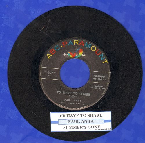 Anka, Paul - I'd Have To Share (FANTASTIC over-looked 50s Teen-Sound Gem!)/Summer's Gone (with juke box label) - VG6/ - 45 rpm Records