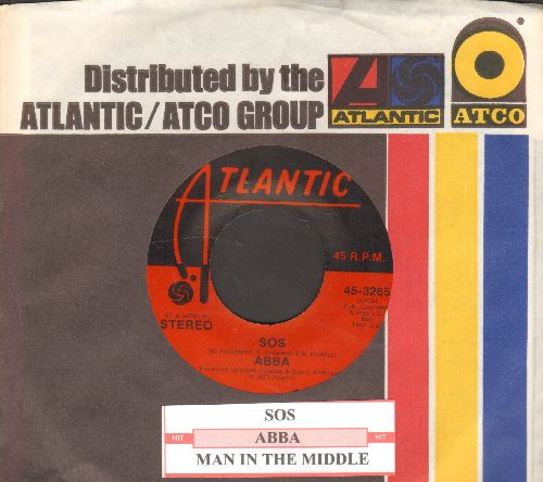ABBA - SOS/Man In The Middle (with juke box label and Atlantic company sleeve) - NM9/ - 45 rpm Records