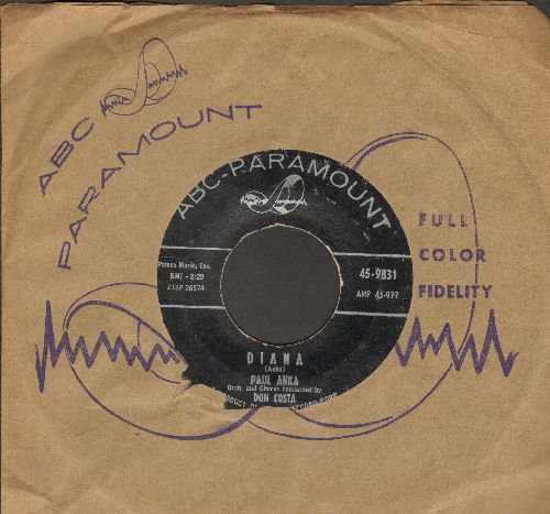 Anka, Paul - Diana/Don't Gamble With Love (RARE black label early pressing with ABC-Paramount company sleeve) - VG6/ - 45 rpm Records