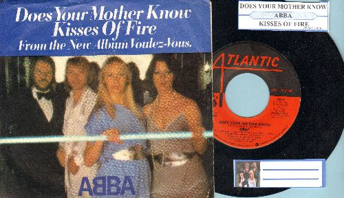 ABBA - Does Your Mother Know/Kisses Of Fire (with picture sleeve and juke box label) - NM9/EX8 - 45 rpm Records