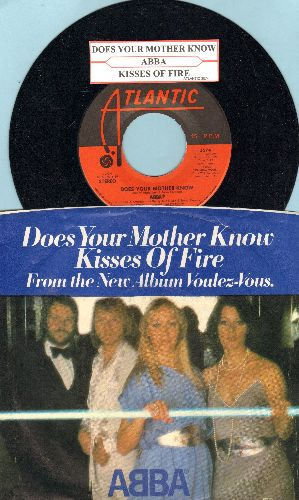 ABBA - Does Your Mother Know/Kisses Of Fire (with juke box label and picture sleeve) - NM9/EX8 - 45 rpm Records