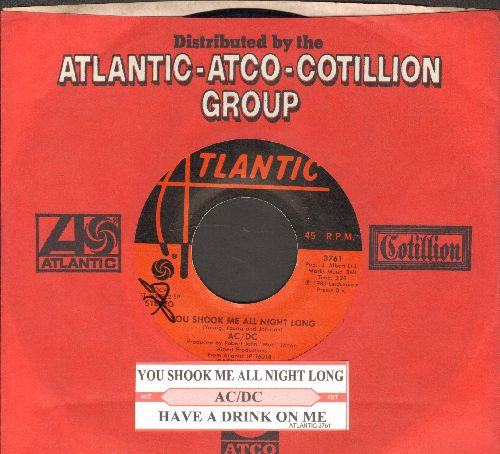 AC/DC - You Shook Me All Night Long/Have A Drink On Me (with juke box label and company sleeve) - VG7/ - 45 rpm Records