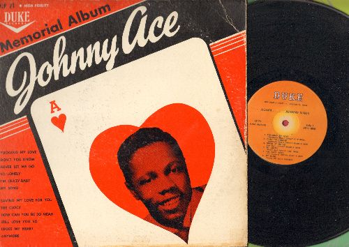 Ace, Johnny - Memorial Album: Pledging My Love, Don't You Know, Never Let Me Go, Saving My Love For You (Vinyl MONO LP record, orange label 1961 pressing) - VG7/VG6 - LP Records