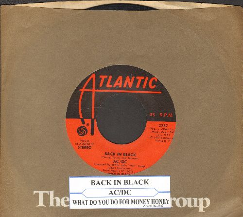AC/DC - Back In Black/What Do You Do For Money Honey (with juke box label and Atlanta company sleeve) - VG7/ - 45 rpm Records