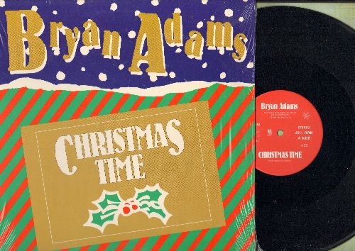 Adams, Bryan - Christmas Time (4:06 Minutes)/Reggae Christmas (2:47 Minutes) (12 inch 33rpm Maxi Single with picture cover) - NM9/NM9 - LP Records
