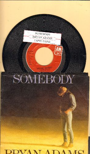 Adams, Bryan - Somebody/Long Gone (with picture sleeve and juke box label) - NM9/EX8 - 45 rpm Records