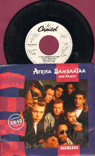 Africa Bambaataa & Family with UB40 - Reckless (double-A-sided DJ advance pressing with picture sleeve) - NM9/NM9 - 45 rpm Records